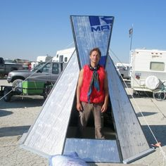 """Burningman shelter made from 4 sheets of foam insulation board and 3"""" Gorilla tape."""