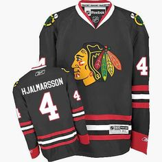 f4b6ddc1e Men's Niklas Hjalmarsson Authentic Black Jersey: Reebok #4 NHL Chicago  Blackhawks Third Blackhawks Jerseys