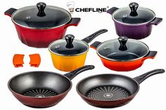Swiss Inspired Cheflline Diamond Frying Pan Non-Stick and Ceramic Pot Set 12 piece >>> Check out this great product.