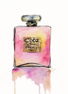 Chanel Perfume botella impresión de ilustración Acuarela Original