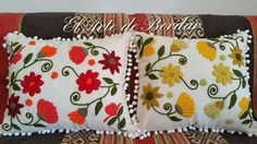 Floral Embroidery Patterns, Hand Embroidery Designs, Designer Bed Sheets, Diy And Crafts, Arts And Crafts, Cross Stitch Embroidery, Wool Felt, Throw Pillows, Cushion