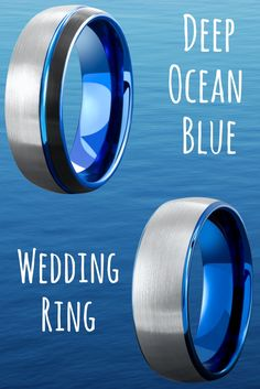 A wedding band for the future husband who loves the ocean. Deep ocean blue tungsten wedding rings with a brushed textured top.