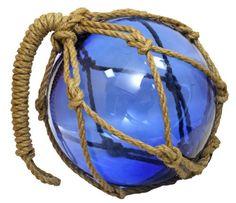 "10"" Deep Blue Glass Maritime Fishing FloatJute Rope - Garden Globe RedSkyTrader http://www.amazon.com/dp/B008EKRLZ0/ref=cm_sw_r_pi_dp_WpYvwb14735PM"