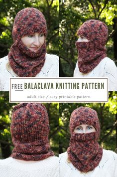 Balaclava knitting pattern free - Bulky knit balaclava pattern - by Handy Little Me. Make a super cozy knitted balaclava for the colder weather with this free printable pattern. Knitting Stitches, Knitting Patterns Free, Knit Patterns, Free Knitting, Free Pattern, Charity Knitting, Knitted Balaclava, Knitted Hats, Crochet Hats