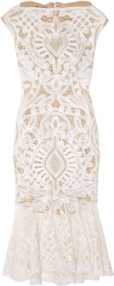 Alexander Mcqueen embroidered Silk Dress with cap sleeves and a flared trumpet skirt