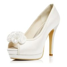 Women's Satin Stiletto Heel Peep Toe Platform Pumps Sandals With Satin Flower