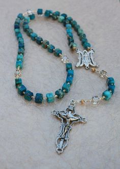 Handmade Rosary Beads with Dyed Turquoise & Swarovski Crystals