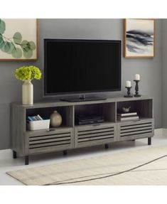 70 inch Slat Door Tv Stand Console - Gray