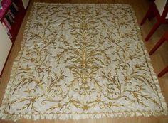 Large embroidered cover.  'Goldwork' (Maraş işi)on silk.  Ca. 1900.
