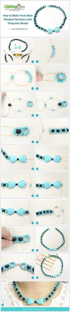 How to Make Fresh Bow Pendant Necklace with Turquoise Beads