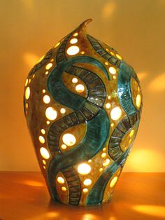 Ceramic lantern from Savvas Pottery in Cyprus. Good example for classroom lamp project.
