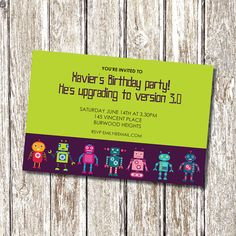 "This invitation is great for any Robot fun parties. Set your dial to fun and lets party!   This listing is for a digital printable file, 4""x6"" or"
