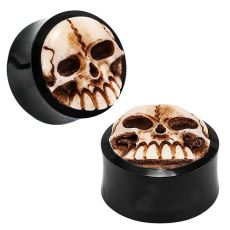 Epic Skull Organic Buffalo Horn Double Flared Skull Plugs - Pair (00G - 1) | Make your look exceptional with these unparalleled skull plugs that feature a double flare. Each skull is finely crafted from buffalo horn to add a unique and authentic look to any plug piercing.