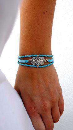 Braided leather bracelet macrame bracelet hamsa hand blue by JforU