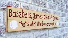 "Boy's, sports, Baseball nursery art, little boys room ""Baseballs, games cleats & gloves, that's what little boys are made of"" world series"