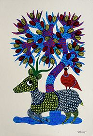 Stag and a bird under a tree, Acrylic colors on paper, Size- 36 X 28Cms. (14.173X11.024 inch), Artist – Mahipal Singh Paraste, Year of execution-2015
