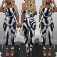 Off Shoulder Double-breasted Button Stripes Cropped Suit Sets Classic Outfits, Cute Outfits, Black One Piece Jumpsuit, Summer Outfits 2017, Suits For Women, Clothes For Women, Sleeve Packaging, Love Fashion, Fashion Design