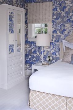 Massucco Warner Miller • Residential • Seacliff Residence....bedroom idea, do wallpaper and then use the grey and white fabric