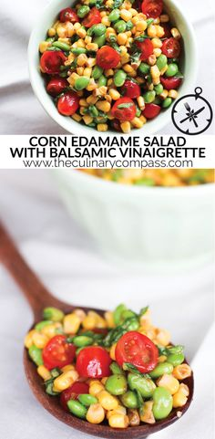 This Corn Edamame Salad with Balsamic Vinaigrette is so simple and so delicious! Dieser Mais-Edamame-Salat mit Balsamico-Vinaigrette ist so einfach und so lecker! Cooked Vegetable Recipes, Vegetable Korma Recipe, Spiral Vegetable Recipes, Vegetable Casserole, Vegetable Dishes, Vegetable Samosa, Vegetable Spiralizer, Spiralizer Recipes, Vegetable Pizza