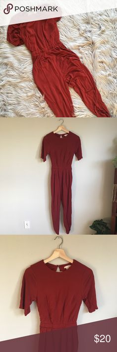 H&M Wine Jumpsuit Wine jumpsuit with open back and stretch waist H&M Pants Jumpsuits & Rompers