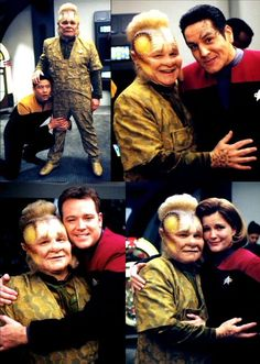 The cast of Voyager saying goodbye to Neelix (Ethan Phillips).