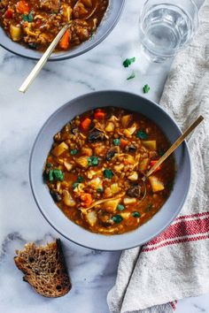 One-Pot Vegan Irish Lager Stew- made with hearty potatoes, cabbage, lentils and mushrooms, this stew is as filling as it is flavorful. (gluten-free + grain-free)