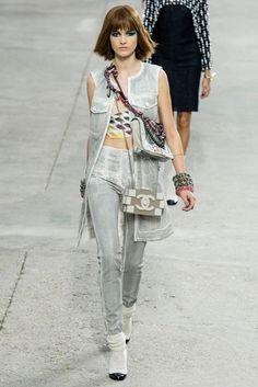 CHANEL 5K Painted Charcoal Denim Dress Vest - Spring Summer 2014 Runway