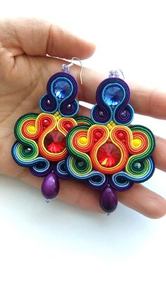 Rainbow amazing soutache earrings handmade jewellery | Etsy Paper Earrings, Soutache Earrings, Big Earrings, Etsy Earrings, Handmade Beaded Jewelry, Earrings Handmade, Beaded Earrings Patterns, Quilling Patterns, Egyptian Jewelry