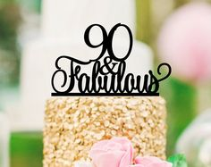 90th Birthday Cake Topper  90th Anniversary Cake by SuntopDesigns