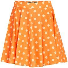 Jeremy Scott Polka Dot Skirt ($170) ❤ liked on Polyvore featuring skirts, cotton pleated skirt, orange pleated skirt, pleated skirt, print mini skirt and a line skirt