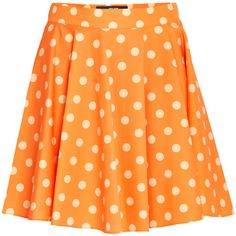 Jeremy Scott Polka Dot Skirt (655 RON) ❤ liked on Polyvore featuring skirts, bottoms, mini skirt, polka dot mini skirt, orange pleated skirt, a-line skirt and patterned skirts