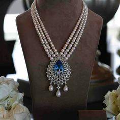 Beautiful pearl necklace with diamond and sapphire pendant. Aquamarine Jewelry, Diamond Jewelry, Lotus Jewelry, Diamond Bangle, Bridal Jewelry, Beaded Jewelry, Handmade Jewellery, Pearl Jewelry, Pearl Necklace Designs