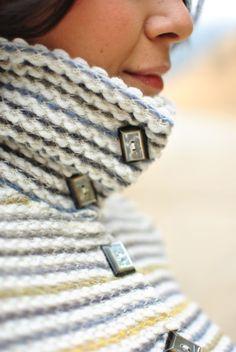 kaj.ani *multi-striped peplum-cardi w/button-up collar w/deco buttons* @kajnistudio