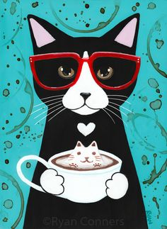 Tuxedo Cat with Catpuccinno Coffee Folk by KilkennyCat Art on Zibbet Coffee Illustration, Illustration Art, Illustrations, Cat Lover Gifts, Cat Lovers, Gatos Cat, Photo Chat, Ecole Art, Cat Cards