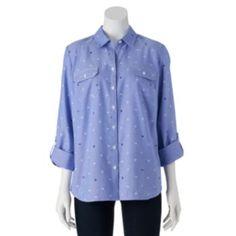 Croft & Barrow Sailboat Roll-Tab Oxford Shirt - Women's