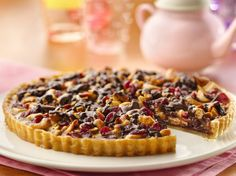Chocolate-Cashew-Cranberry Tart #HolidayPinParty