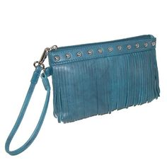 The quality clutch is made from genuine leather and features a zip top closure to keep contents secure. The front fringe and rivet detail give it a fashionable look. The interior is fully lined with a back wall zip pocket and two credit card pockets to keep items organized and easy to find.