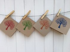 Hand Printed Craft Cards, using our Indian wooden Block Printing set- Tees & Leaves, which can be used for printing on all Fabric's, Paper, Card & Clay. The set contains a mixture of Trees & Leaves designs