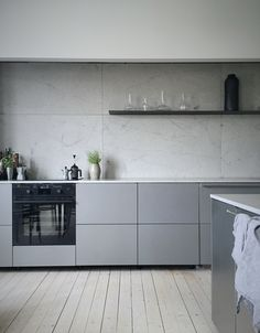 sleek modern kitchen in gray tones