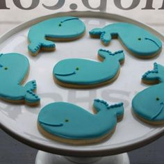 Smiling Whale Cookie Favors @Megan Klausman. Baby shower? =)