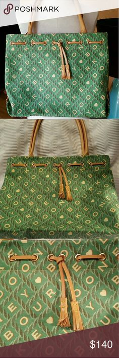 JUST INDooney & Bourke ❤ Shopper Tote Gorgeous.  Dooney  & Bourke LOVE shopper tote in spring Green with shades of khaki and cream.  EUC.  Magnetic closure with 4 interior pockets,  can be wiped to clean easily.  16in x 12in x 5in.  10 in strap drop.  Both inside and outside show no signs of wear.  Smoke free, pet free home. Dooney & Bourke Bags
