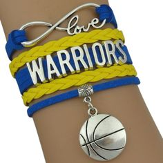"Golden State Warriors Bracelet - NBA Golden State Warriors Charm Bracelet Blue and Yellow Color/Lobster Clasp with Silver Tone Metal Charms Hand Made Easily Adjusts to Fit your Wrist 6.5"" to 8.5"" Adju"