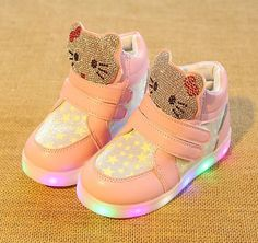 963567973233 New Girls Shoes Baby Fashion Hook Loop Led Shoes Kids Light Up ...