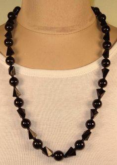 Vtg W Germany Irregular Black Plastic Seed Bead Long Necklace