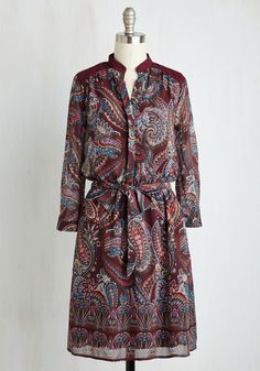 Without Further To-Do Dress - Purple, Paisley, Print, Work, Boho, A-line, Long Sleeve, Fall, Woven, Better, Mid-length, Chiffon