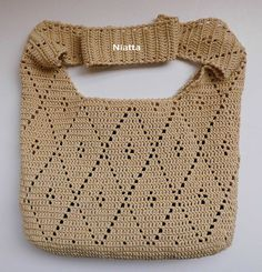 FREE SHIPPING Crochet Handbag Ecru Vintage by NiattaCrochet