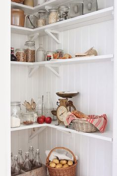 Pantry with beadboard, open shelves - All white. I can't find those brackets, so sides on shelves might be easier to build and hang. Kitchen Interior, Kitchen Decor, Kitchen Dining, Pantry Inspiration, Cottage Kitchens, Kitchen Stories, Butler Pantry, Country Kitchen, Country Life