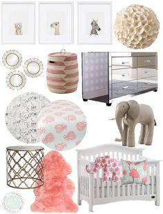 Girly and glam safari inspired nursery (love the Animal Print Shop babies!)
