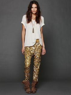 Free People all over sequin embellished harem-style pants.