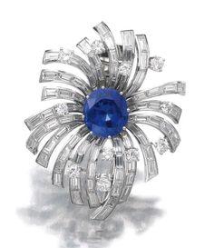 - Sapphire and diamond brooch